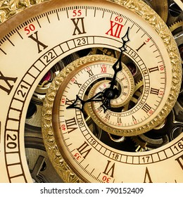 Surreal antique old clock abstract fractal spiral. Watch clocks with mechanism unusual abstract texture fractal pattern background. Old fashion clock roman arabic numerals clock hands abstract spiral