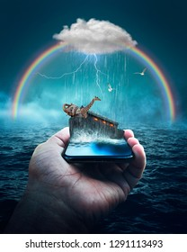 Surreal art of Noah's Ark Bible Story on a cellphone.