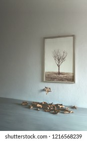 surreal autumn, leafs falling out from a painting of a tree