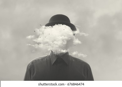 surreal black and white concept man with cloud over head