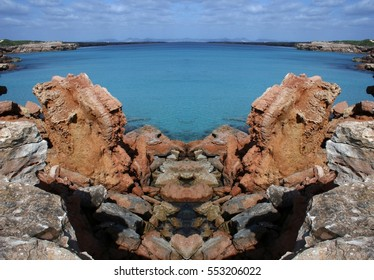 surreal coast and sea blue of Formentera island, Spain, Symmetrical photographs of landscapes of Ibiza, magical, artistic, landscapes of your mind, only for crazy, optical illusions