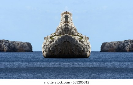 surreal coast and sea blue of Ibiza island, Spain, Symmetrical photographs of landscapes of Ibiza, magical, artistic, landscapes of your mind, only for crazy, optical illusions