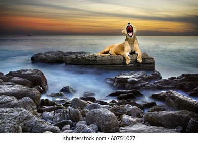 Surreal coastal scene with a lion resting on a rock surrounded by the sea