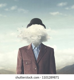 surreal concept head in the clouds
