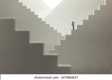 surreales Konzept eines Mannes, der Treppe hinaufsteigt, um zu versuchen, die Spitze zu erreichen