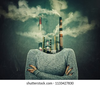 Surreal confident woman with crossed hands and factory instead of head. Nuclear plants, toxic smoke of dirty industry concept. Smog contaminated air and the environment pollution caused by human.