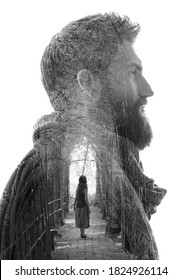 Surreal creative double exposure portrait