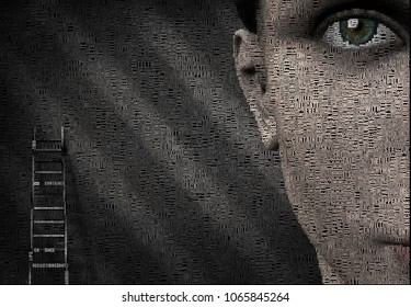 Surreal digital art. Woman's face and ladder. Picture is composed entirely of the words. 3D rendering