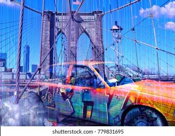 Surreal digital art. Yellow cab on the Brooklyn bridge. Graffiti elements. 3D rendering