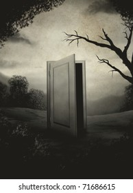 surreal digital painting of an open door in the center of a landscape made to look like an aged vintage photograph