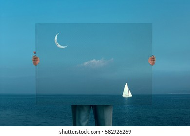 surreal fantastic painting boat sailing in the night under moon