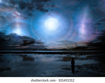 Surreal fantasy scene with a strange light phenomenon in the sky over a beach landscape and a woman in silhouette looking out at it.