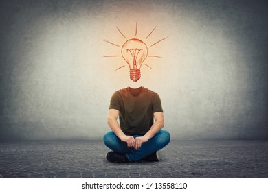 Surreal headless guy, invisible face seated on the floor with a glowing lightbulb instead of head, as an idea and inspiration symbol. Bulb as genius mind concept.