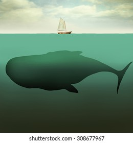 Surreal illustration of little sailboat in the middle of the ocean with the sea depth and a giant whale beneath it