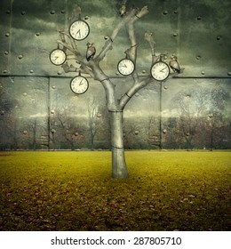 Surreal illustration of many clock and small mechanical owls on a tree and scattered in a mechanic landscape
