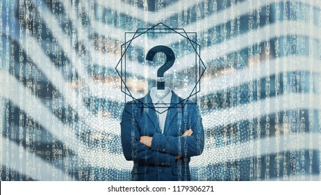 Surreal image as an adult online anonymous internet hacker with invisible face stand with crossed hands and question mark instead head, hiding his identity. Matrix number codes personal data thief.