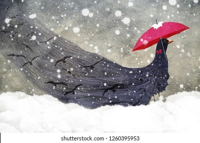 Surreal image of black bird holding a red umbrella in the snow with long flowing black dress with birds flying throughout it.