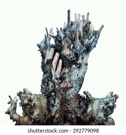 Surreal image of a face of a girl hidden by a trunk and the bark of a tree on a white background
