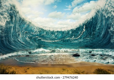 Surreal image of huge waves surrounding dry sand.