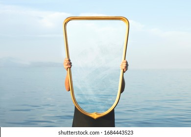 surreal image of a transparent mirror; concept of door to freedom