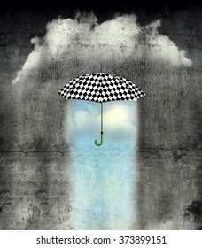 A surreal image of an umbrella checkered black and white, where below it there is good weather and bad weather with rain around it