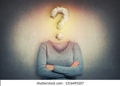 Surreal image as woman with crossed hands and invisible face has a question mark cloud instead of head. Social mask for hiding identity. Incognito introvert person, anonymity concept.