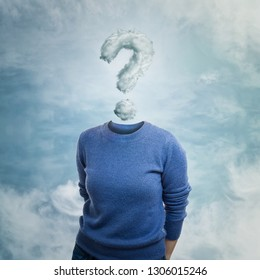 Surreal image as young woman anonymous has invisible face and question mark  cloud instead of head eb476ea5e
