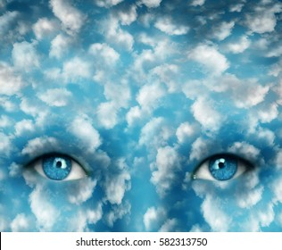 Surreal imagine representing beautiful two eyes with blue light sky and many clouds