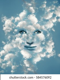 Surreal imagine representing a fantasy beautiful face camouflaged in blue light sky with many clouds