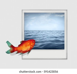 Surreal isolated image on white background representing a goldfish that dive from a white paper into a photo with sea and sky landscape