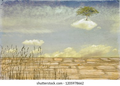 Surreal landscape with wild herbs and tree on a cloud.