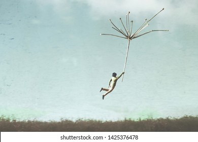 surreal man flying free in the sky