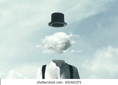 surreal man heads in the clouds