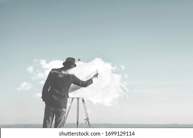 surreal man painting cloud on canvas, creativity concept
