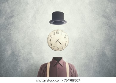 surreal man with retro clock face