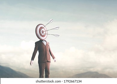 surreal man with target on head hit by arrows from sky, targeting concept