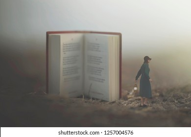 surreal moment of a woman with lantern walking confused in the fog between giant books