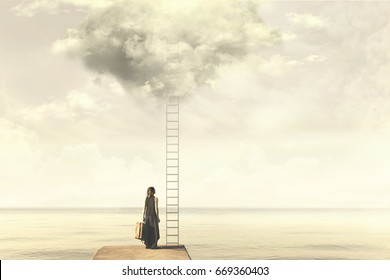 Surreal moment of a woman standing in front of a ladder go above a cloud