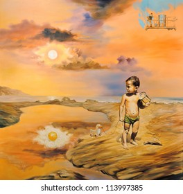 """Surreal oil painting on canvas - """"Children's Day"""" Sun reflected eggs. War child plays with iron jar. In the background the artist paints the sky in blue - art will save the world."""