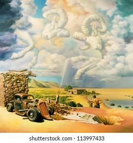 """Surreal oil painting on canvas. """"While you thought she (the earth) gets to your car (to eat)"""" Find in the picture an invisible umbrella."""