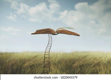 surreal open book flies in the sky connected to the ground by a ladder
