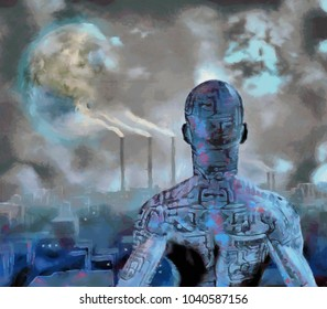 Surreal painting. Droid stands before futuristic city. Terraformed moon in the sky. 3D rendering