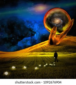 Surreal painting. Giant stone hand holds crystal ball. Man in suit is losing light bulbs in green field. Light bulbs symbolizes ideas. 3D rendering