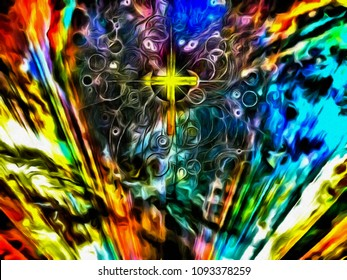Surreal painting. Golden cross and eye of God in vivid colorful sky. 3D rendering