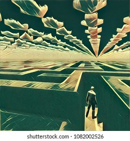 Surreal painting. Man in labyrinth. Clouds in shape of pointers. 3D rendering