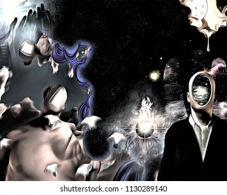 Surreal painting. Man in suit with empty head. Another naked man with open door instead of face. Winged light bulbs represents ideas. 3D rendering