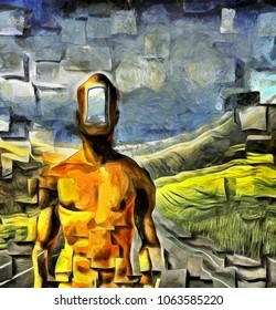 Surreal painting. Naked man with open door instead of face. Road in the field on a background. Square elements. 3D rendering