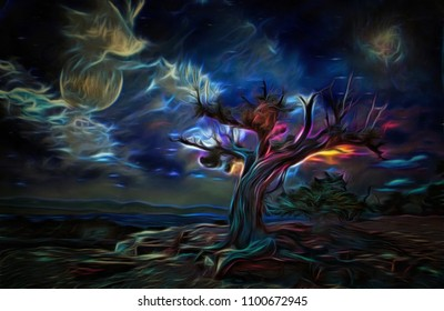 Surreal painting. Old tree, full moon and mystic clouds in the sky. 3D rendering