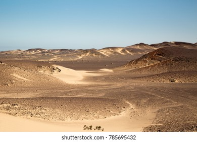 surreal panorama of the white sand dunes at skeleton coast, namibia