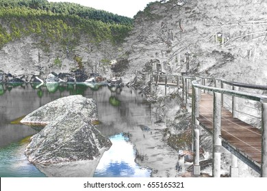 Surreal photography of Black Lagoon of Picos de Urbión, Soria, Spain, Wooden path over water with railing, Surrealistic photography of landscapes of Spain,